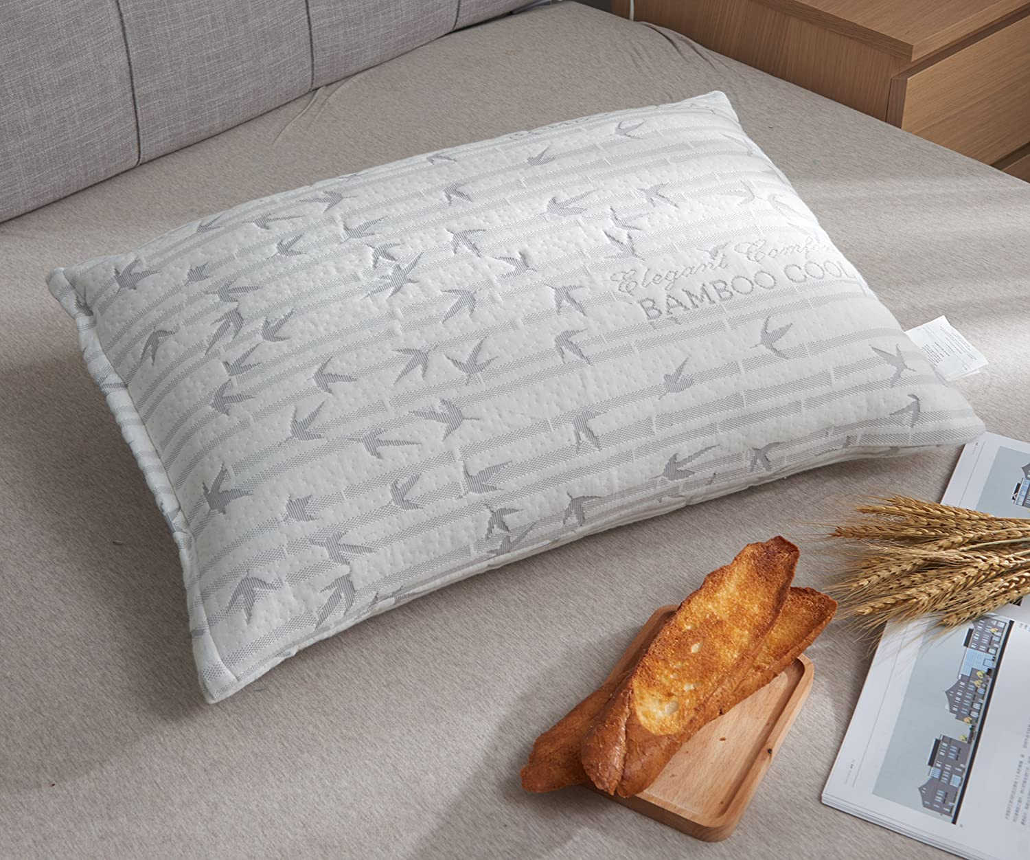 King Gray 1PACK Elegant Comfort Ultra-Luxury Bamboo Shredded Memory Foam Adjustable Fit and Zipper Removable Flow Rayon Breathable Cooling Hypoallergenic Pillow Cover