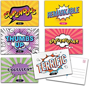"""36 Colorful Comic Book Postcards for Kids from Teachers to Mail with 6 Different Designs. Encouragement Greeting Cards for School Students. 4""""x 6"""" inch. Distance Learning Bulk Gift. Back to School"""