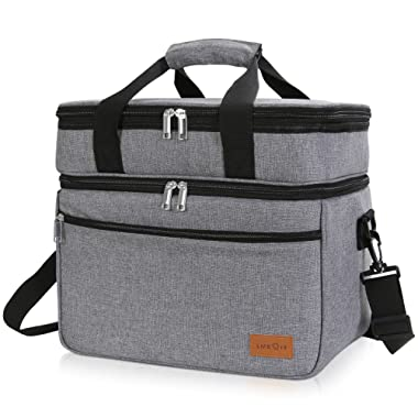 Lifewit Cooler Bag Soft Cooler 23L (30-Can), Insulated Thermal Soft-Side Cooling Picnic Bag with Large Pocket for Picnic/Party/Beach/Camping, BBQ, Grey