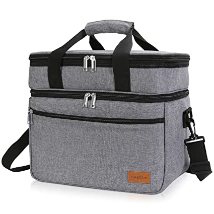 Lifewit Lunch Bag 23L (29-Can), Insulated Thermal Soft-Side Cooler Cooling with Large Pocket for Work/Picnic/Beach, Grey