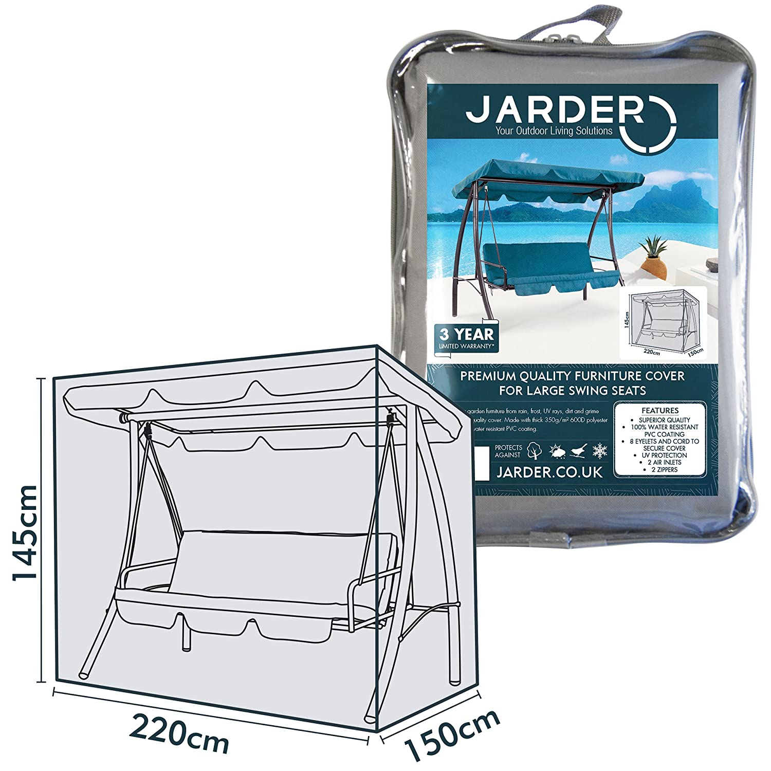 Jarder Swing Chair Cover, 100% Water Resistant | 3 YEAR WARRANTY