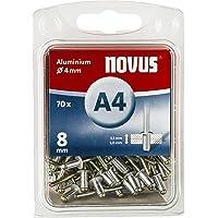 Novus Blindklinknagels 8 mm aluminium, 70 blinde klinknagels, Ø 4 mm, 3,5-5,0 mm klemlengte, bevestiging van kunststof…