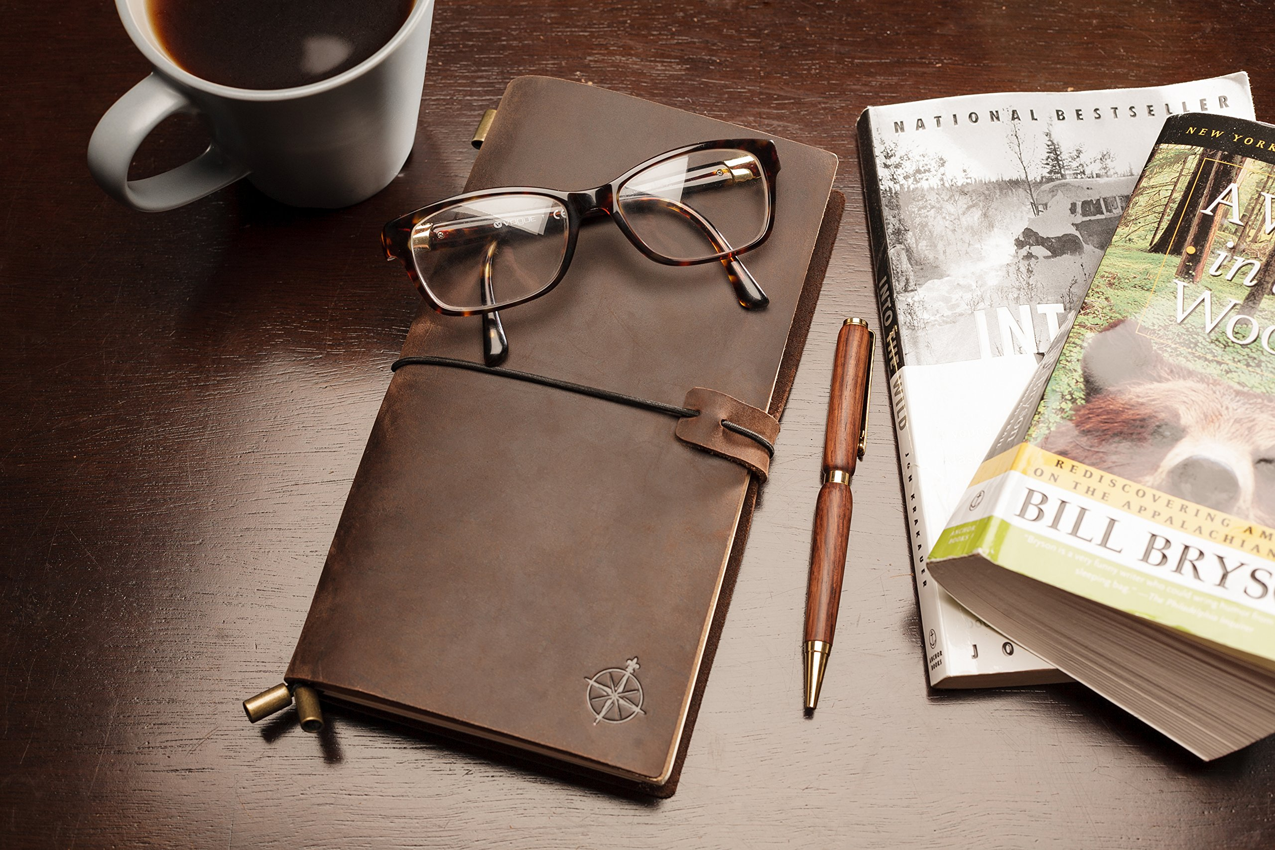Cuaderno cuero | Libreta de Viaje, Rellenable, Travel Notebook, Bullet Journal, Gran Regalo, Diario para Escribir o Viajes. Agenda Cuero. Recargas en Blanco. (22 x 12cm) por Wanderings