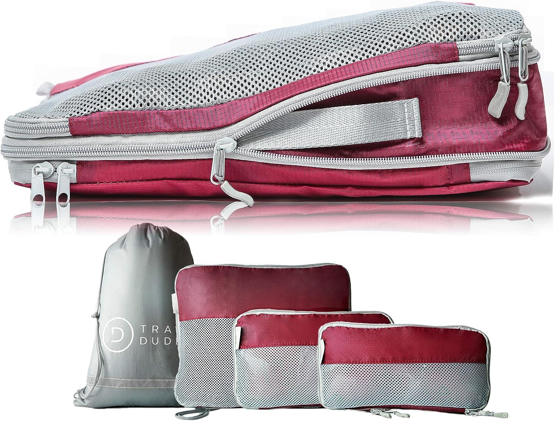 TRAVEL DUDE Organizador de Maletas con Bolsas de Compresión para Equipaje | De Botellas de Plástico Recicladas | Bolsas Organizadoras Maleta | Easy Travel | Ultra liviano (Rojo Vino, 4 P