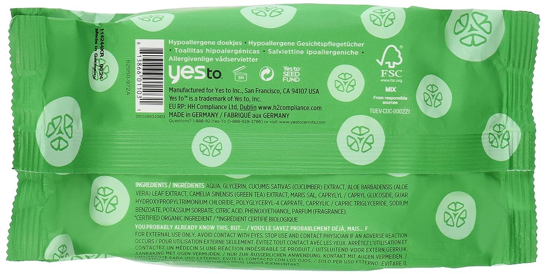 Yes To Cucumbers 30 servilletas limpiadoras - - Juego de 2: Amazon.es: Belleza