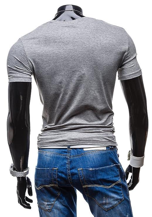 BOLF Herren T-shirt Kurzarm Basic Classic Slim Fit GLO STORY 7450 Anthrazit  XXL [3C3]: Amazon.de: Bekleidung