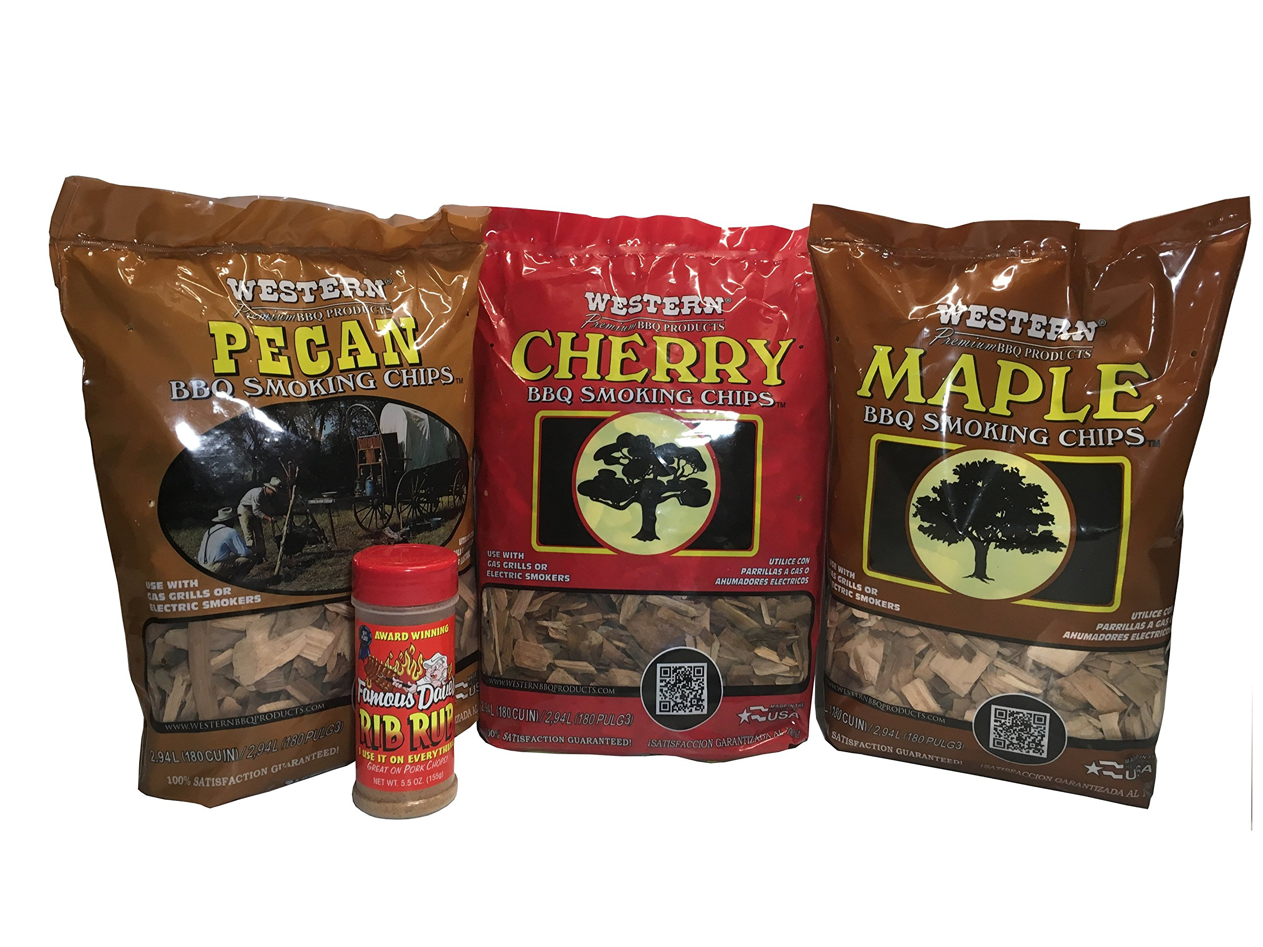 Western Unique Wood Chip Bundle with FREE BOTTLE of Famous Dave's Rib Rub - Variety Pack Bundle (3) - Unique Flavors - Pecan, Cherry, and Maple