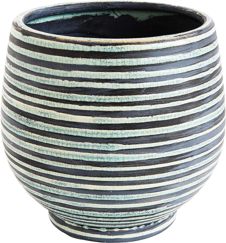 Creative Co-op DA7716 Aqua Striped Round Terracotta Planter