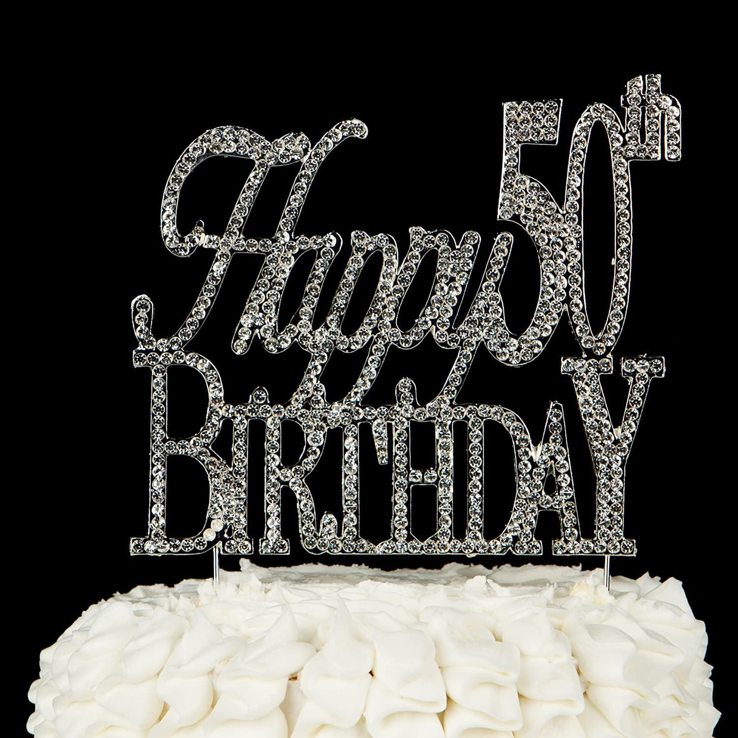 Amazon Happy 50th Birthday Cake Topper 50 Crystal Rhinestone