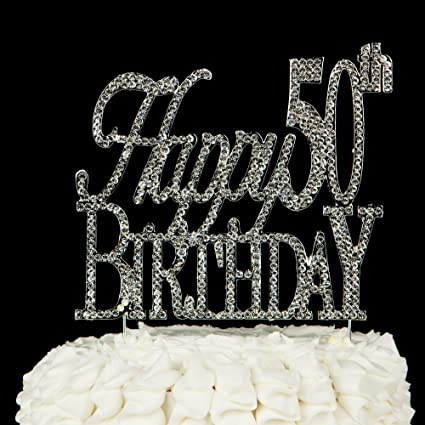 Happy 50th Birthday Cake Topper 50 Crystal Rhinestone Party Decoration Silver