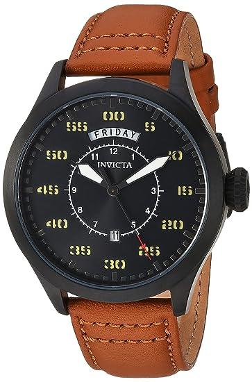 Invicta 22974 Aviator Reloj para Hombre acero inoxidable Cuarzo Esfera negro: Amazon.es: Relojes