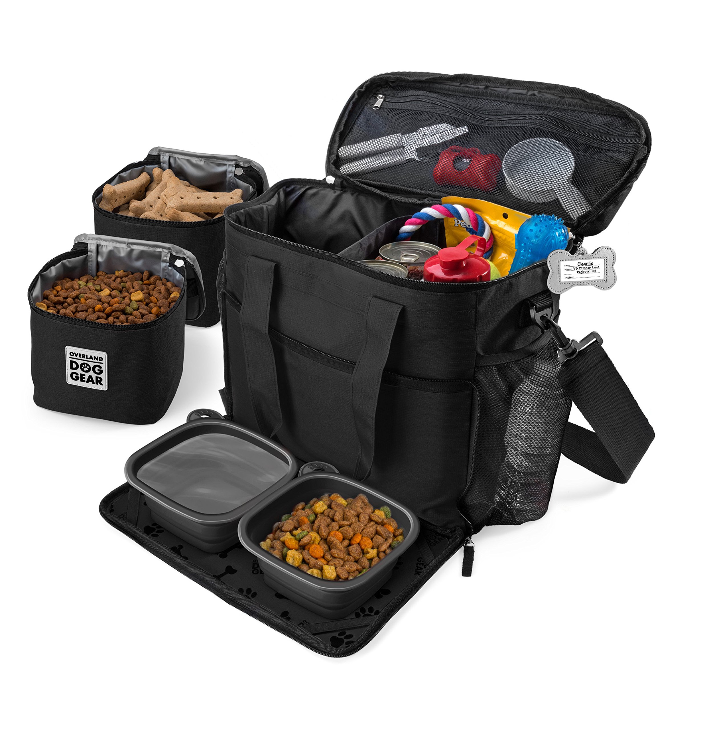 Dog Travel Bag - Week Away Tote for Med and Large Dogs - Includes Bag, 2 Lined Food Carriers, Placemat, and 2 Collapsible Bowls (Black) by Overland Dog Gear