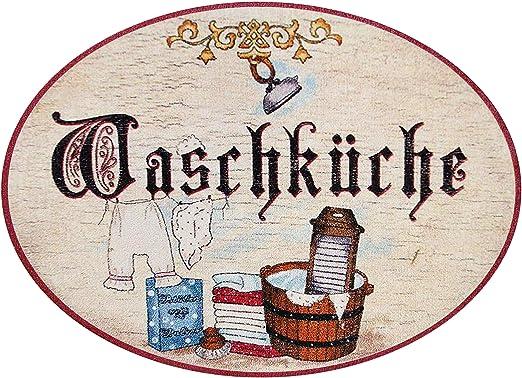 Kaltner Präsente – Ideas para regalo, cartel de madera para la puerta con un diseño antiguo, para la habitación de lavar la ropa (diámetro 18 cm)