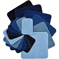 18 Pieces 6 Colors Iron on Patches Denim Cotton Patches Iron-on Repair Kit, 3 Size (5 x 5 Inch, 3 x 3 Inch, 2 x 3 Inch)