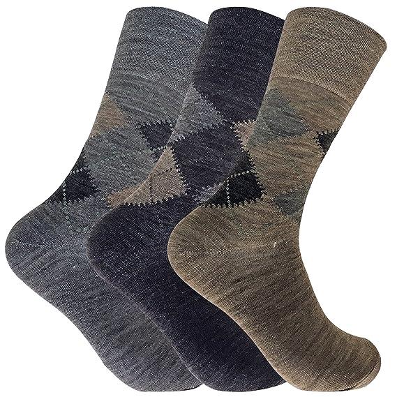 3 pares hombre invierno gruesos lana sin elasticos calcetines en marrón y gris (39-45 eur, SE049 Brown): Amazon.es: Ropa y accesorios