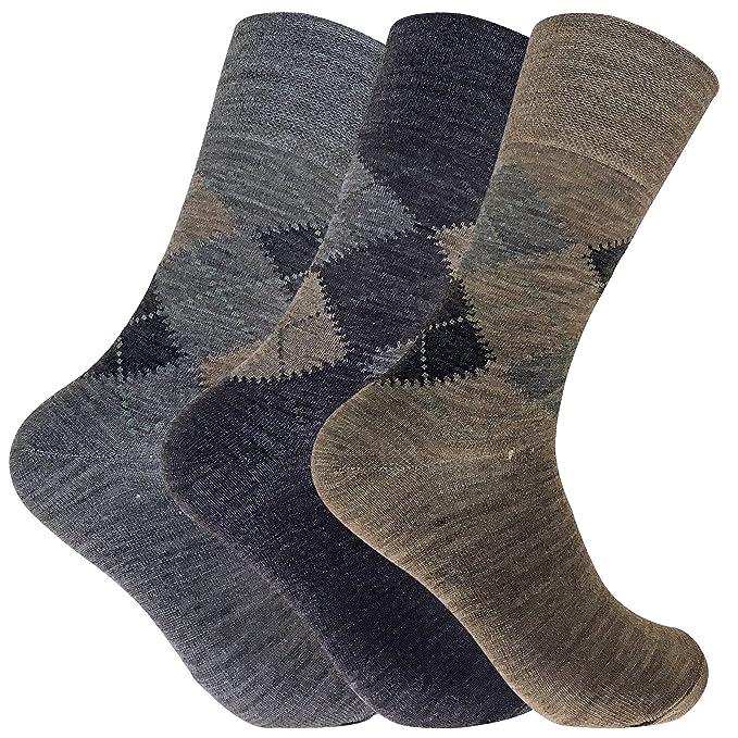 Sock Snob 3 pares hombre invierno gruesos lana sin elasticos calcetines en marrón y gris (