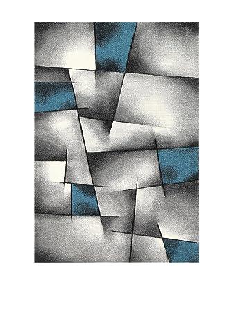 BRILLANCE Tapis de salon 80x150 cm bleu, noir et gris ...