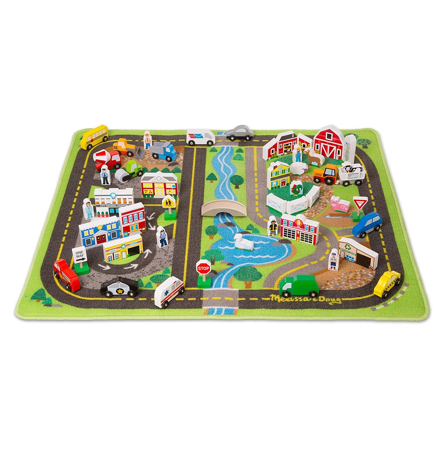 Melissa & Doug Deluxe Activity Road Rug Play Set with 49 Wooden Vehicles and Play Pieces Melissa and Doug 5195