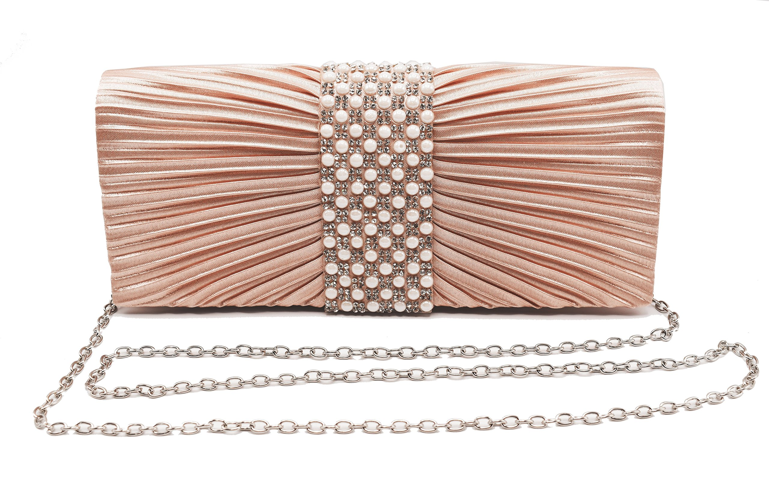 Womens Satin Clutch with Pearl and Diamond Evening Handbag for Party Cocktail Wedding Purse Wallet Bag (ROSE GOLD)