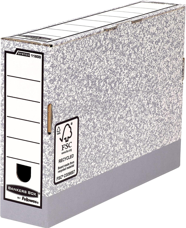 Bankers Box 11800 - Caja de archivo definitivo automático, folio, lomo 80 mm, gris jaspeado: Amazon.es: Oficina y papelería