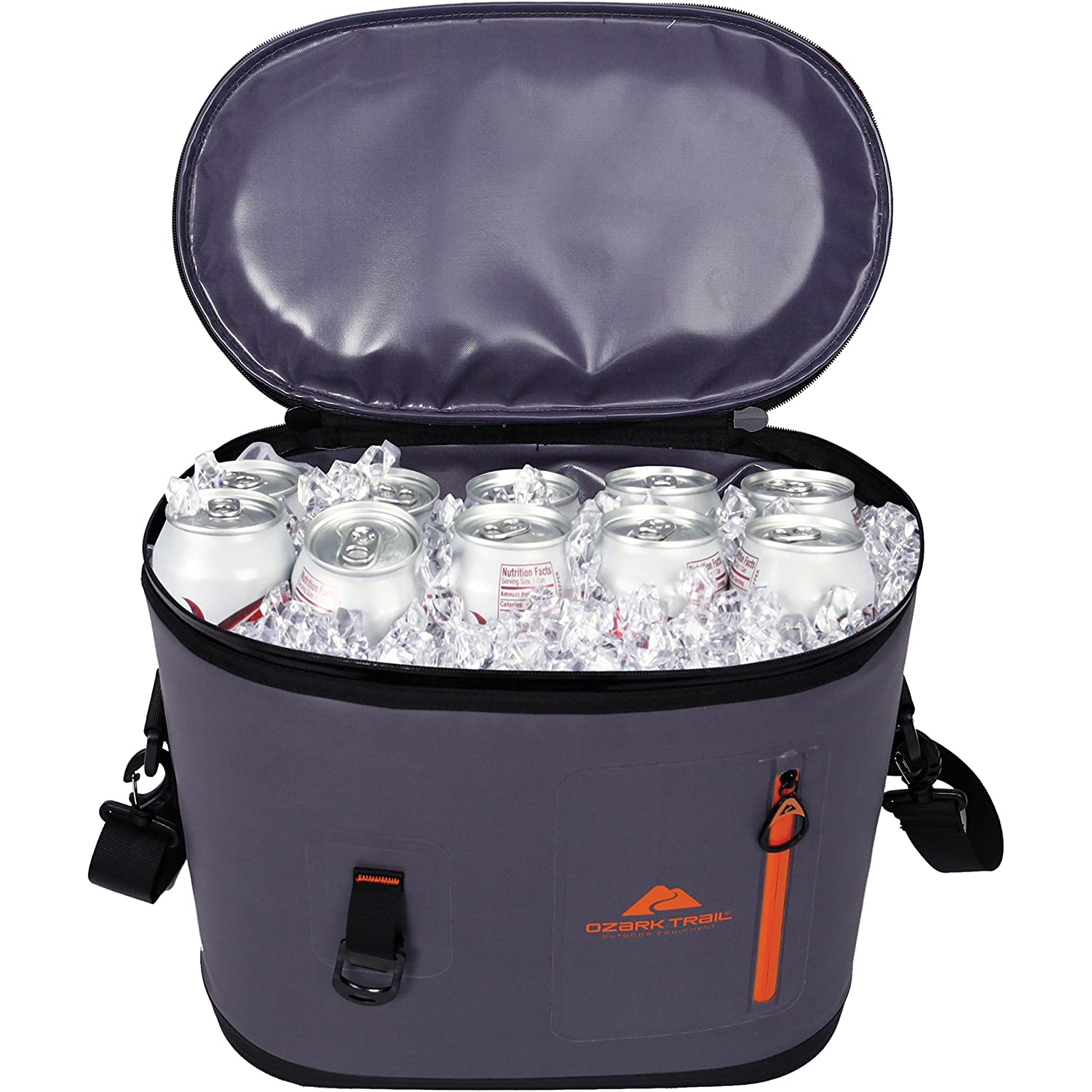 Ozark Trail Premium and Spacious 24-Can Camping and Outdoor Cooler, Dark Grey with Orange Accent, with Front Pocket and Bottle Opener Attachment Point!