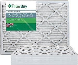 FilterBuy 14x30x1 MERV 13 Pleated AC Furnace Air Filter, (Pack of 6 Filters), 14x30x1 – Platinum