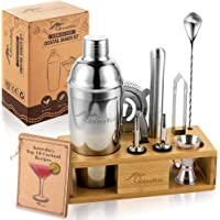 Cocktail Shaker Set - 11 Piece Premium Quality Stainless Steel Bartender Kit with Wooden Bamboo Stand - Create the…