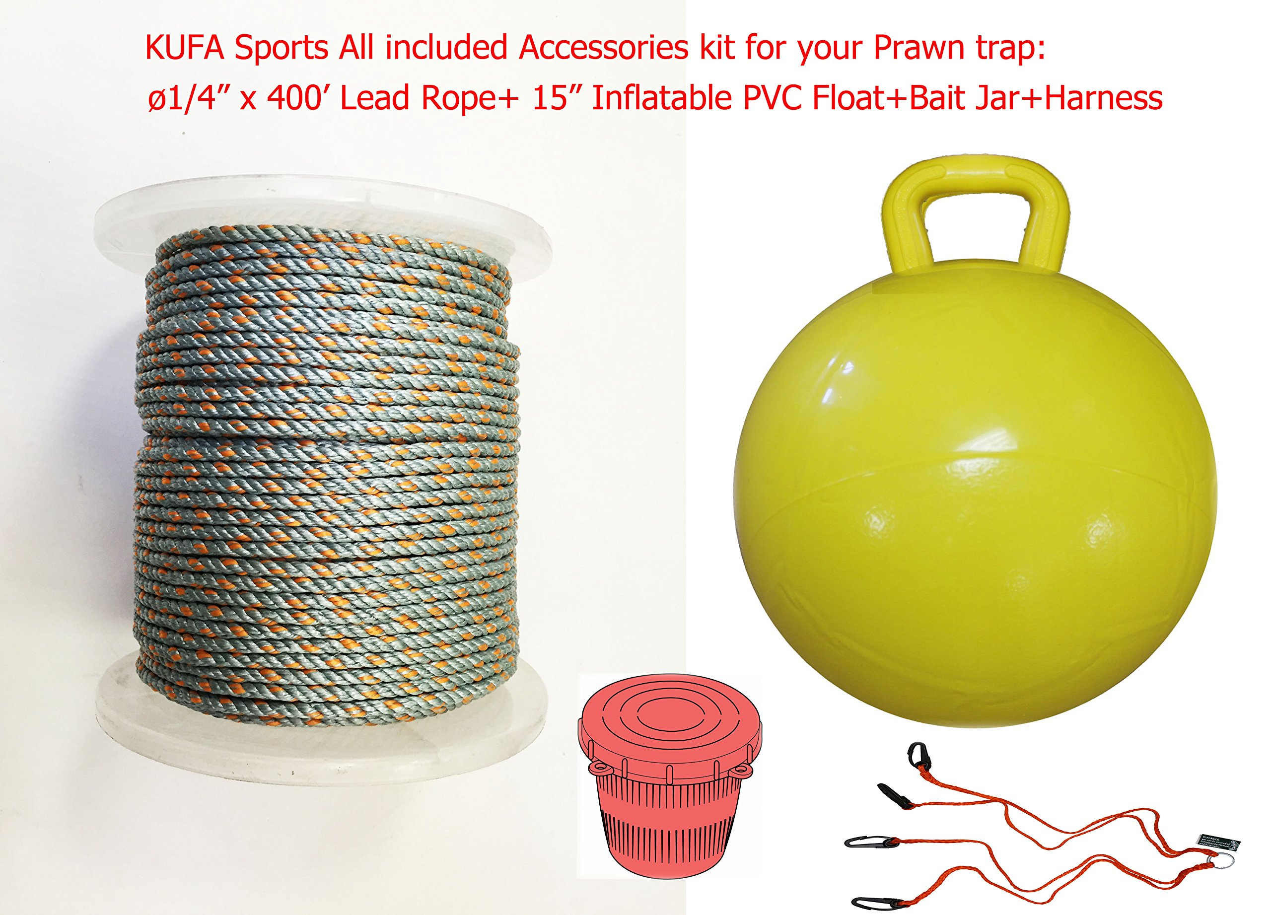 KUFA Sports All Included Prawn Trap Accessories/(1/4'' x 400'' Lead Core Rope)/15'' Float/Bait Jar/Harness Combo by KUFA Sports