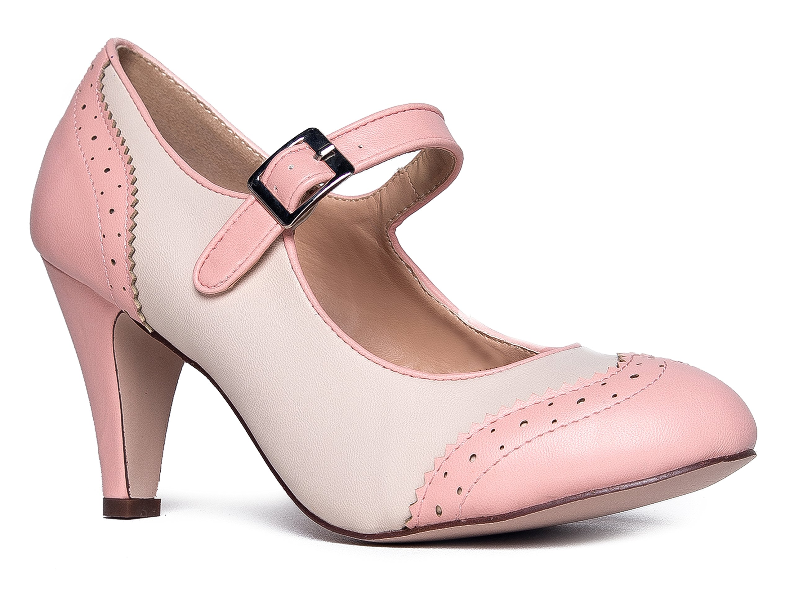 Kym Round Toe Oxford Heel, Pink Cream PU, 6.5 B(M) US