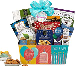 Happy Birthday Gift Basket filled with Ghirardelli Godiva Kettle Corn Peanut Brittle Cinnamon Candy Cookies and more by Wine Country Gift Baskets