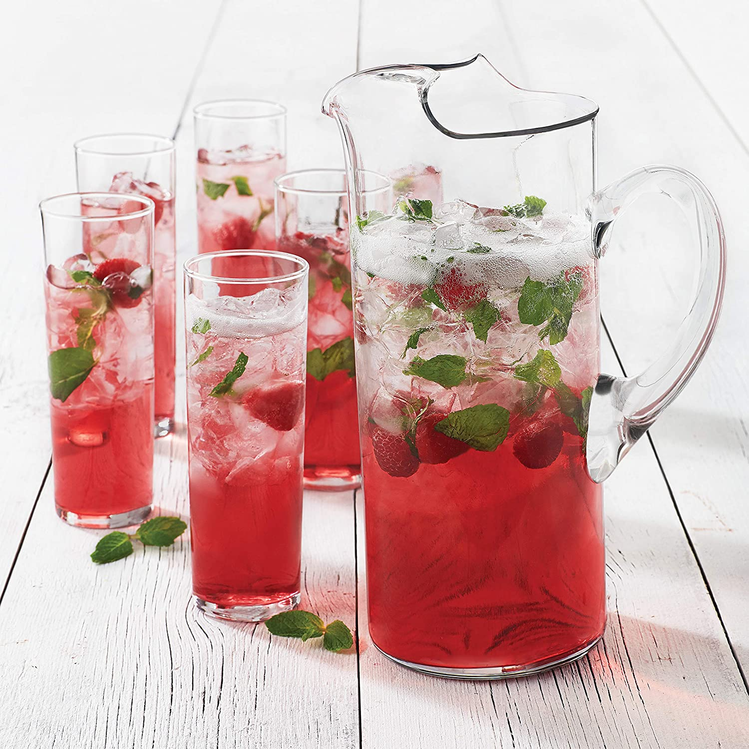 Libbey Modern Bar Boozy Brunch Entertaining Set with 6 Highball Glasses and Pitcher