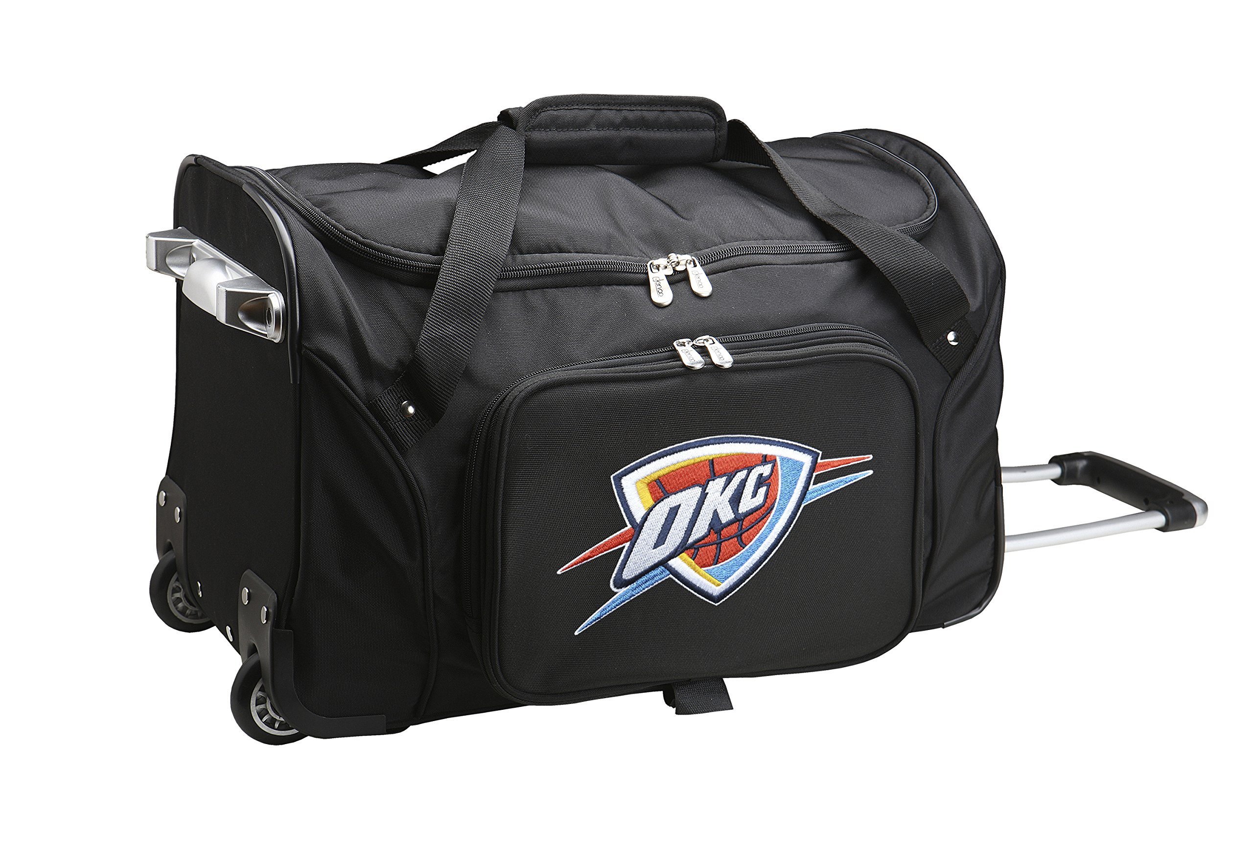 NBA Oklahoma City Thunder Wheeled Duffle Bag, 22 x 12 x 5.5'', Black