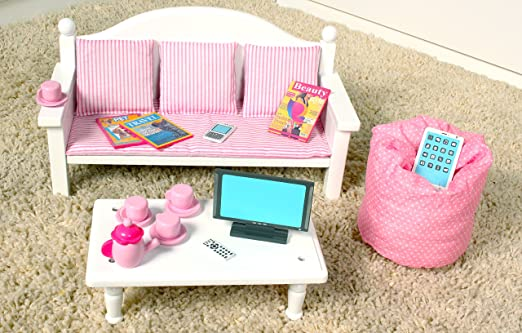 Amazon.com : 18 Inch Doll Furniture Sofa & Coffee Table Set w ...
