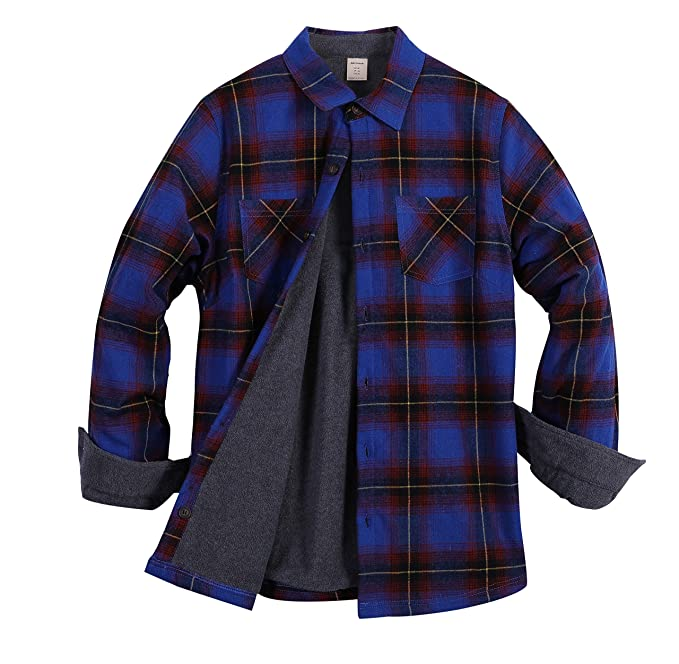 ZENTHACE Womens Thermal Fleece Lined Plaid Button Down Flannel Shirt Jacket