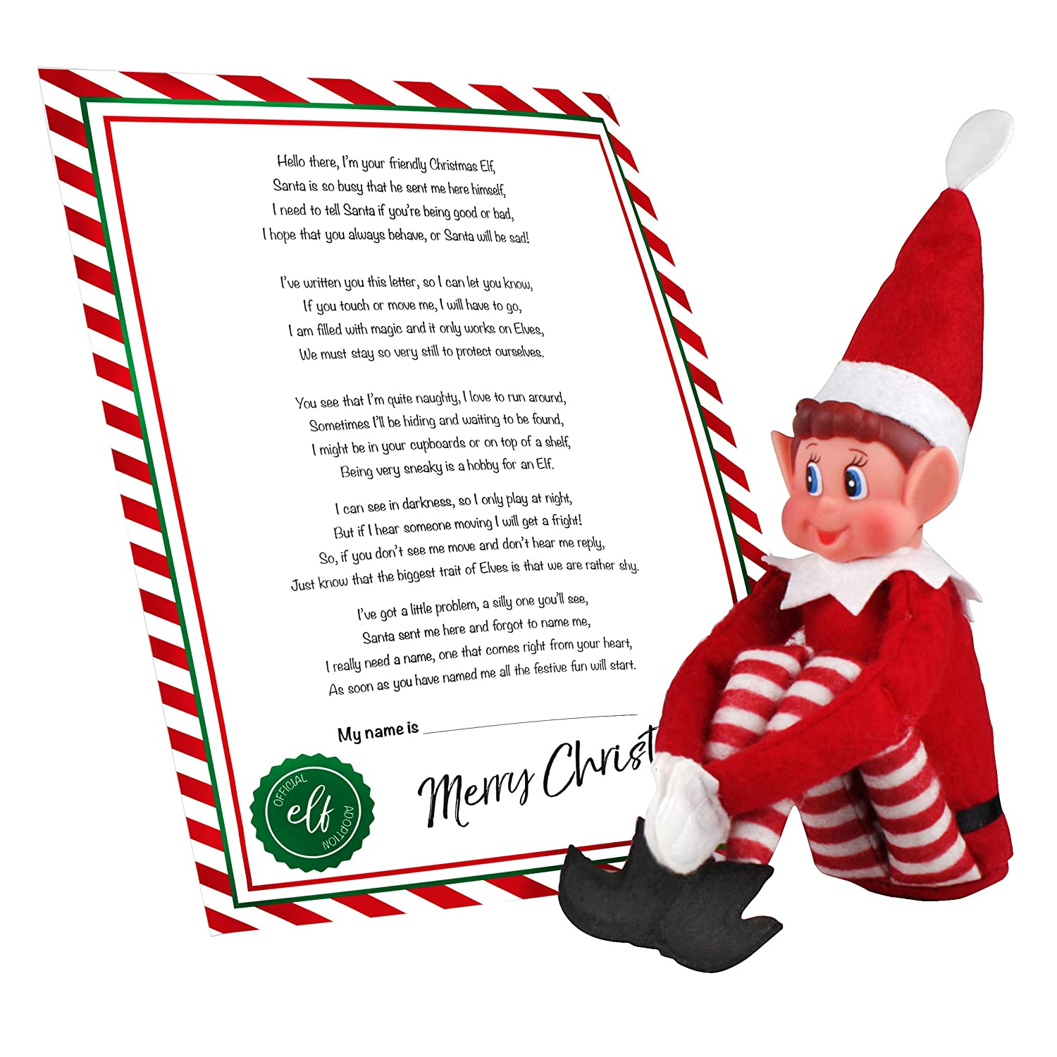 eBuyGB Elves Sitting on Shelves Elf with Adoption Certificate
