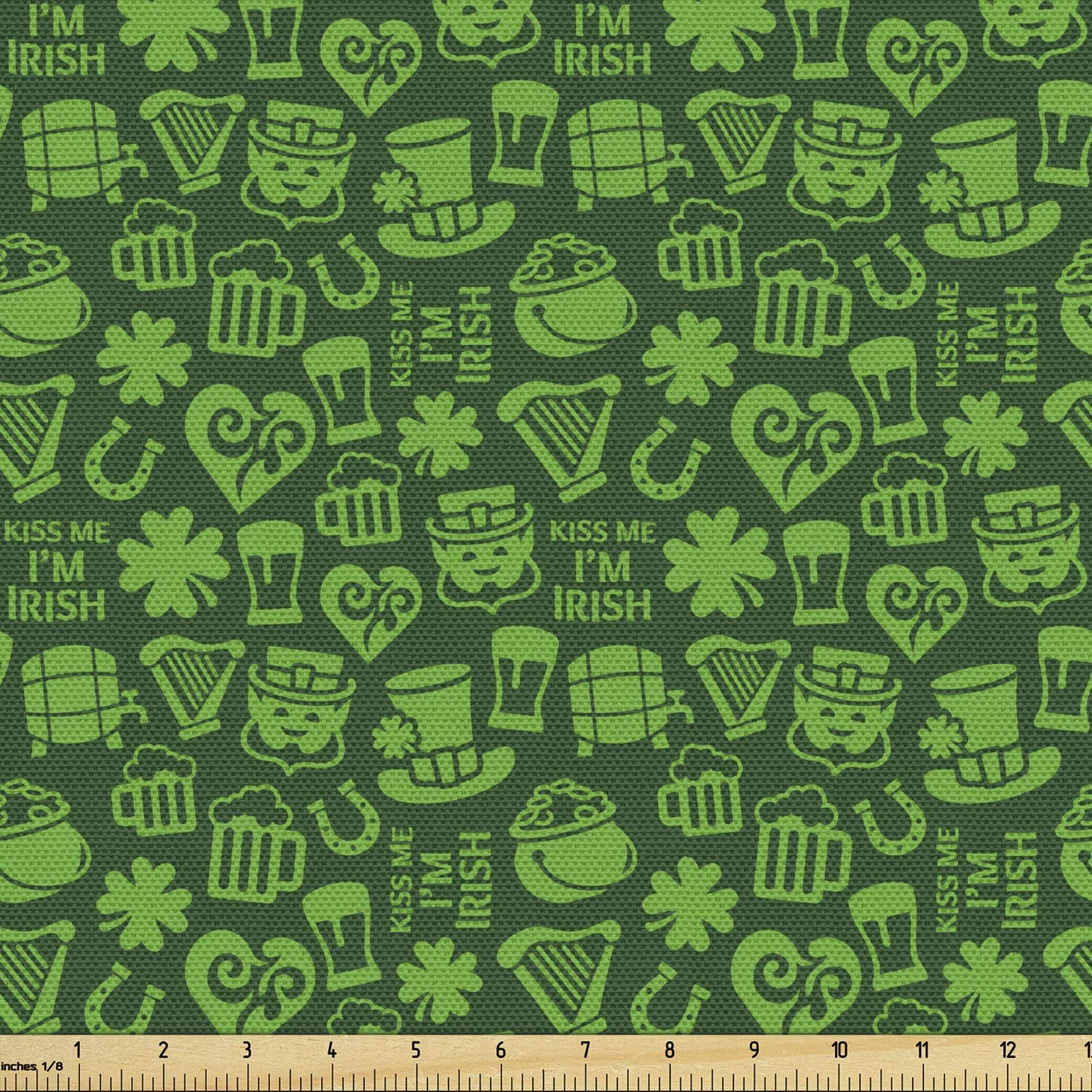Ambesonne Irish Fabric by The Yard, Kiss Me I'm Irish Humorous Phrase with Ale Shamrocks Hats Traditional, Decorative Fabric for Upholstery and Home Accents, 1 Yard, Lime Green
