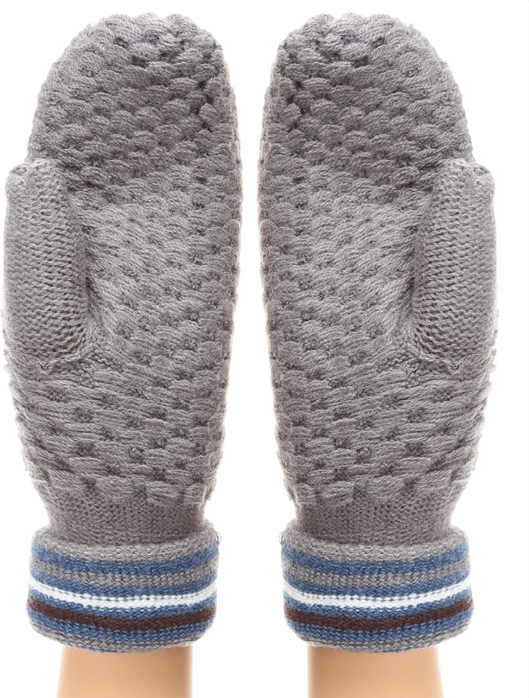 MIRMARU Women/'s Winter Gloves Thick Seed Stitch Knit Mittens Cuff Glove with Soft Sherpa Lining MM-KW-SWG-113-BURGUNDY