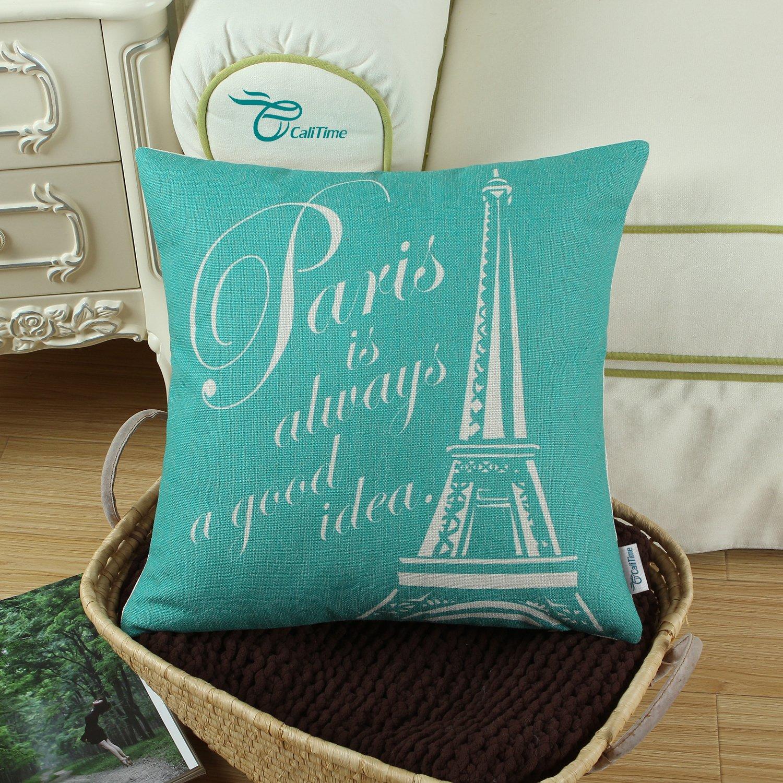 Amazon CaliTime Cushion Cover Throw Pillow Shell Paris Eiffel