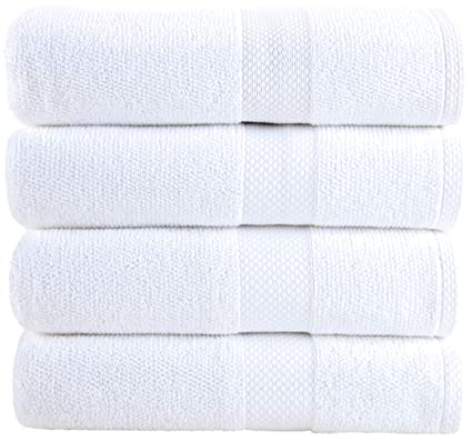 Bath Towels White 4-Piece Set - 100% Cotton Luxury Quick Dry Turkish Towels