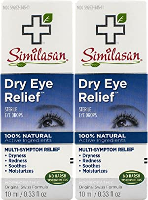 Similasan Dry Eye Relief Eye Drops 0.33 Ounce Bottle, for Temporary Relief from Dry or Red Eyes, Itchy Eyes, Burning Eyes, and Watery Eyes, 2 Count