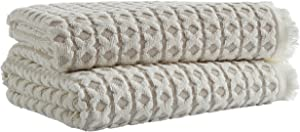 Amazon Brand – Stone & Beam Casual Sculpted Criss Cross Cotton Bath Towels, Set of 2, Light Taupe