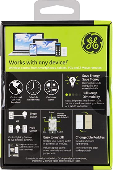 ge 45613 wave. GE Z-Wave Wireless Smart Lighting Control Dimmer Switch, In-Wall, Includes White \u0026 Light Almond Paddles, Works With Amazon Alexa, 12724: Amazon.co.uk: Ge 45613 Wave