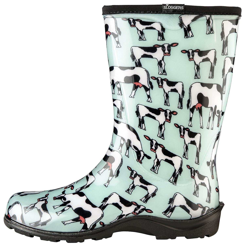 Sloggers Frauen und Wasserdicht Regen und Frauen Garten-Stiefel mit Komfort-Innensohle 11 Cow-abella Mint f0be16