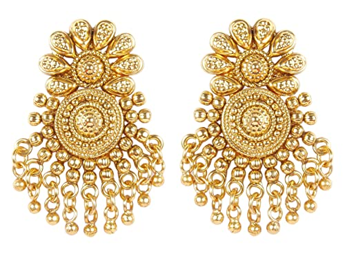 MUCHMORE Awesome Style Polki Indian Gold Tone Earrings Wedding Wear Jewellery