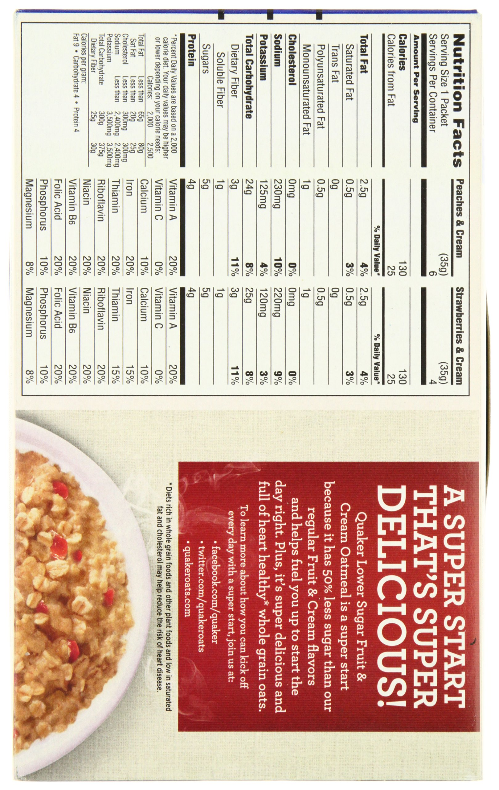 Quaker Instant Oatmeal, Low Sugar Fruit & Cream Variety Pack, Breakfast Cereal, 10 Packets Per Box (Pack of 4) by Quaker (Image #5)