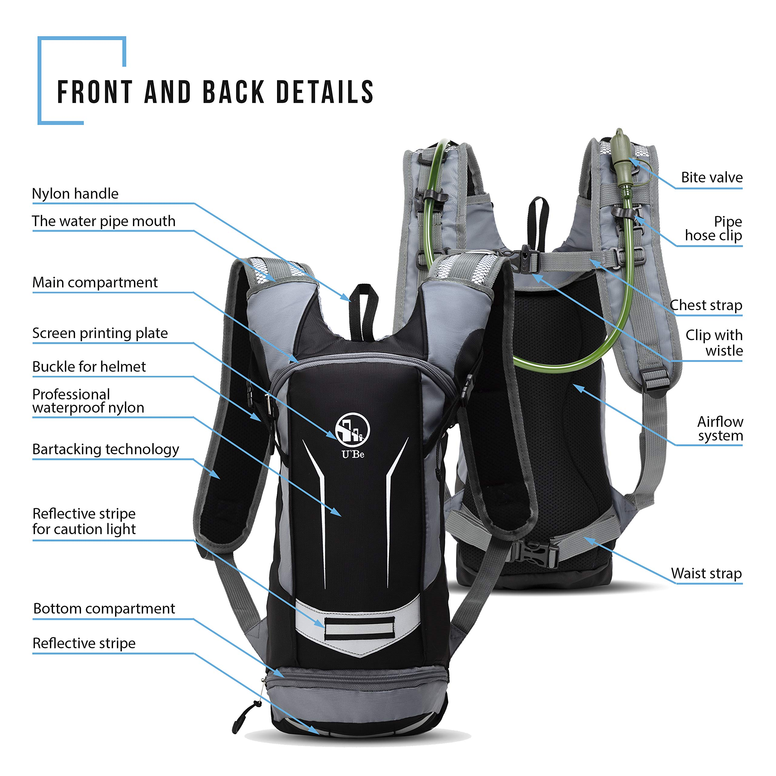 U`Be Hydration Pack - Hydration Backpack - Camel Pack Water Backpack with Insulated 2l Bladder for Women Men Kids Backpacking - Small Lightweight Water Reservoir for Running Hiking Cycling by U`Be (Image #8)