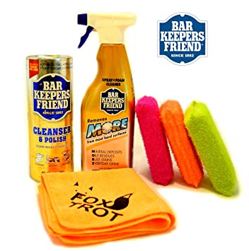 Bar Keepers Friend Kitchen and Bath Cleaning Kit (21 Oz Cleanser & Polish Powder |