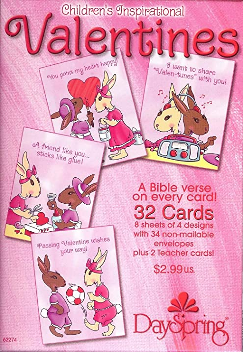Amazon.com : Bunny Valentine Cards for Kids with Scripture ...