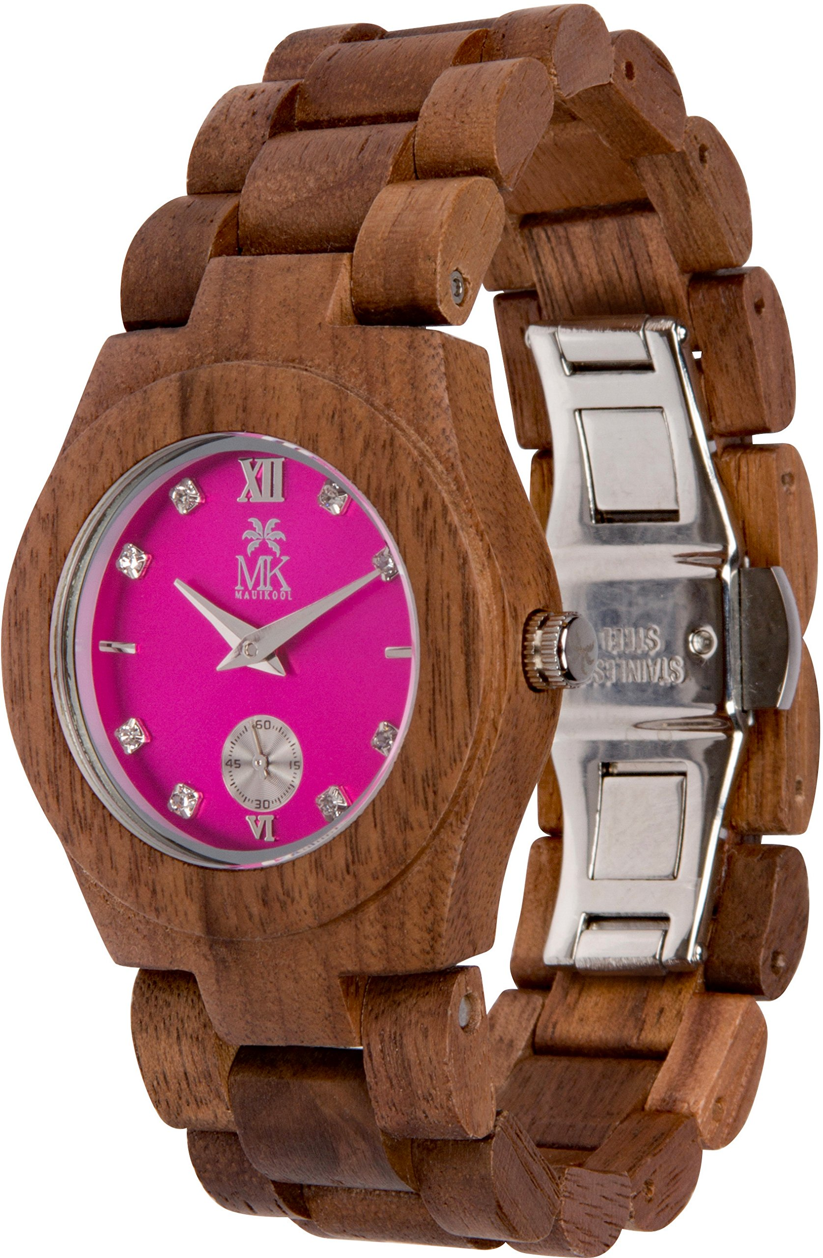 Maui Kool Wooden Watch Hana Collection for Women Analog Wood Watch Bamboo Gift Box (B5 - Walnut Fuchsia)