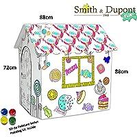 Grande Maison en Carton à Peindre Kit Peinture Inclus - A Parti de 2ans - Smith&Dupont Fun! (Maison Gourmande)